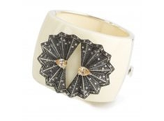 Fan Cuff – Ivory, Antique, Champagne CZ from Miriam Salat