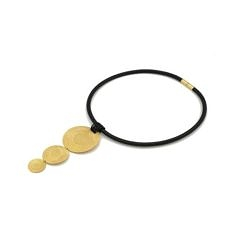 Gold Plated Triple Disc Necklace With Leather