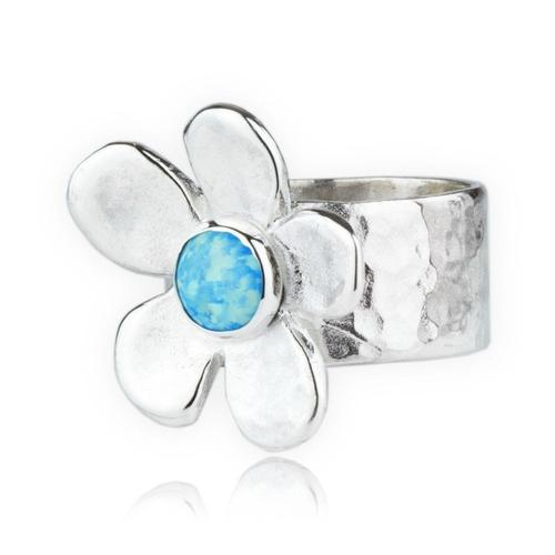d070a14c177fc Hammered Sterling Silver Daisy & Blue Opal Ring - JewelryDesigners.co