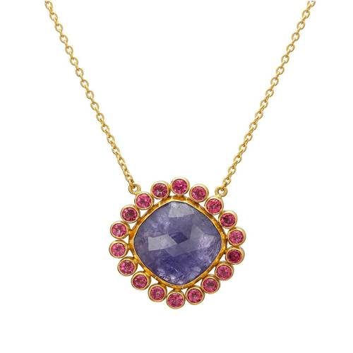 24kt Yellow Gold Elements Pendant Necklace With Tanzanite & Pink Topaz