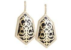 Large Filagree Earrings – Black, Gold | Miriam Salat