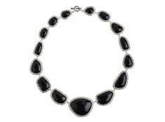 Nugget Necklace – Black, Rhodium by Miriam Salat