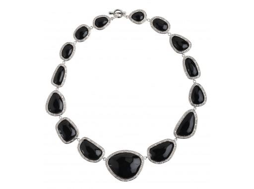 Nugget Necklace – Black, Rhodium by Miriam Salat