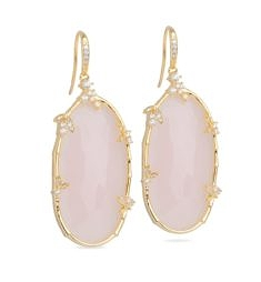 Oval Floral Nugget Earrings – Transparent Pink Opal, Gold from Miriam Salat