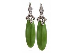 Ridged Drop Earrings – Jungle Green, Antique | Miriam Salat