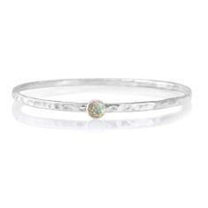 Sterling Silver White Opal Bangle