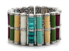 Tribal Rod Bracelet – Multicolored, Rhodium | Miriam Salat