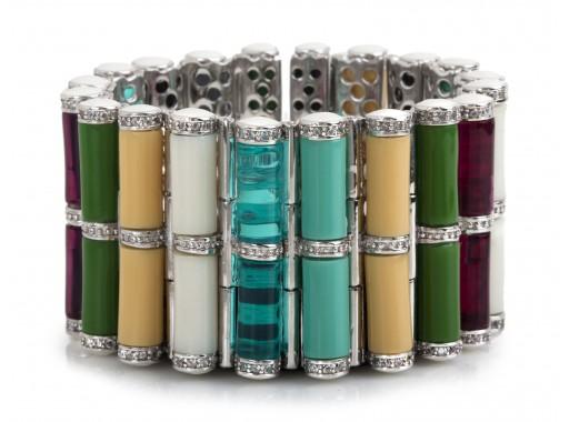 Tribal Rod Bracelet – Multicolored, Rhodium   Miriam Salat