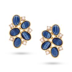 Blue Sapphire & Rainbow Moonstone Stud | Tresor Collection