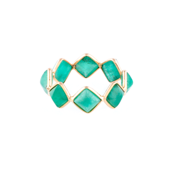Emerald Square Ring Band in 18k YG   Tresor Collection