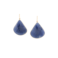 18kt Yellow Gold Earring With Blue Corundum | Tresor Collection