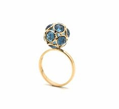 London Blue Topaz Sphere Ball Ring | Tresor Collection