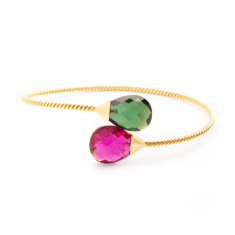 Pink & Green Tourmaline Bangle in 18K Yellow Gold | Tresor Collection