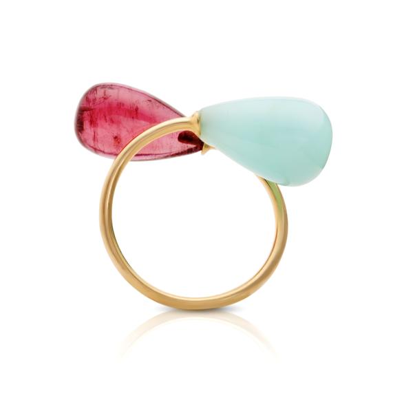 Pink Tourmaline & Peruvian Opal Ring | Tresor Collection