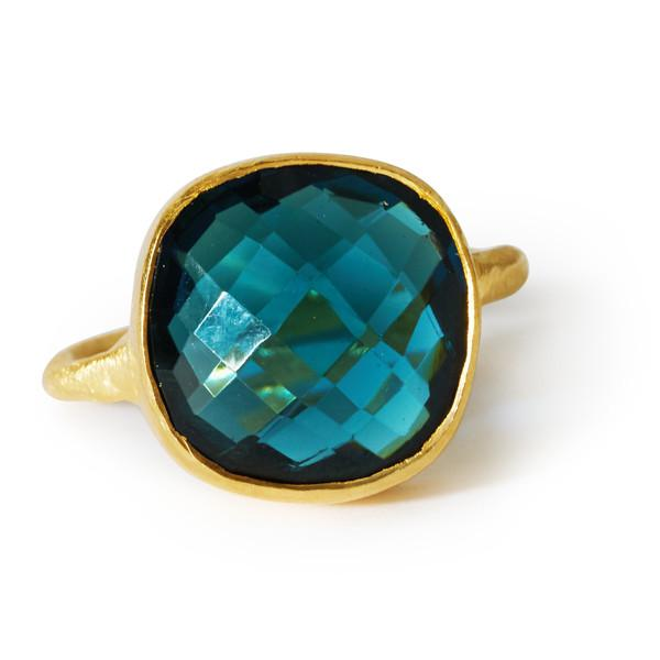 The Brushed Square Stone Ring   Black Betty Design